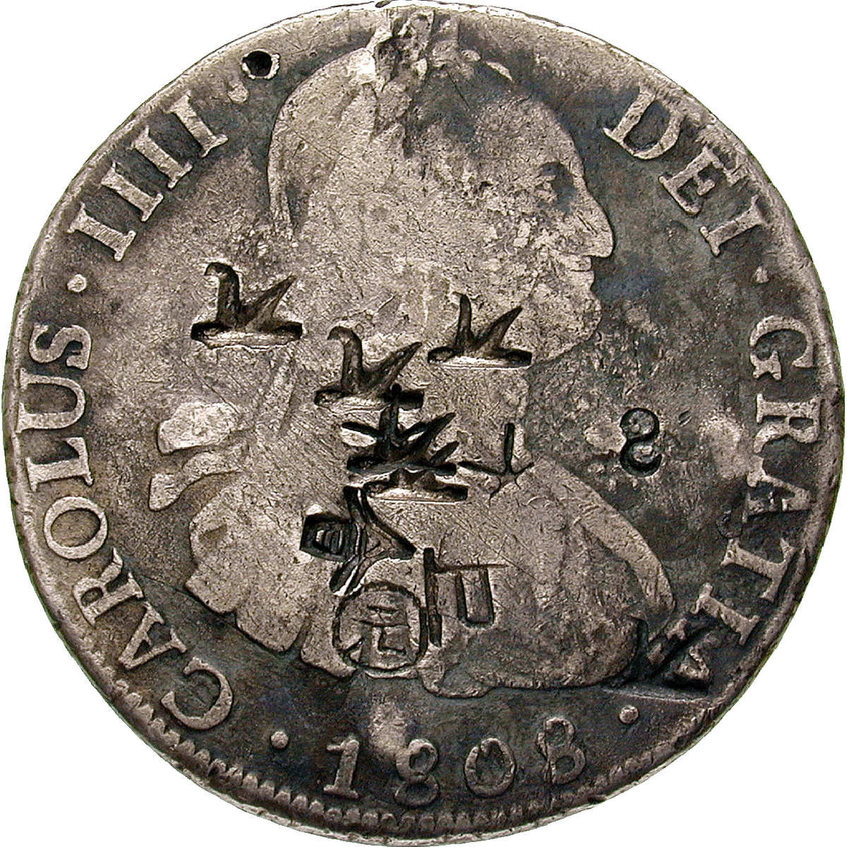 Chinese Empire, Charles III. of Spain, Real de a ocho (Peso) 1808 with Chinese Countermarks (obverse)
