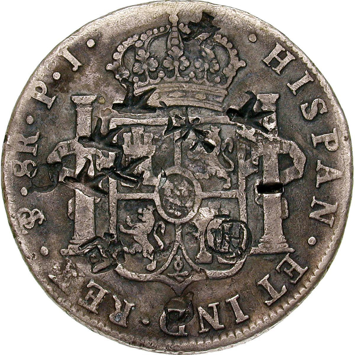 Chinese Empire, Charles III. of Spain, Real de a ocho (Peso) 1808 with Chinese Countermarks (reverse)