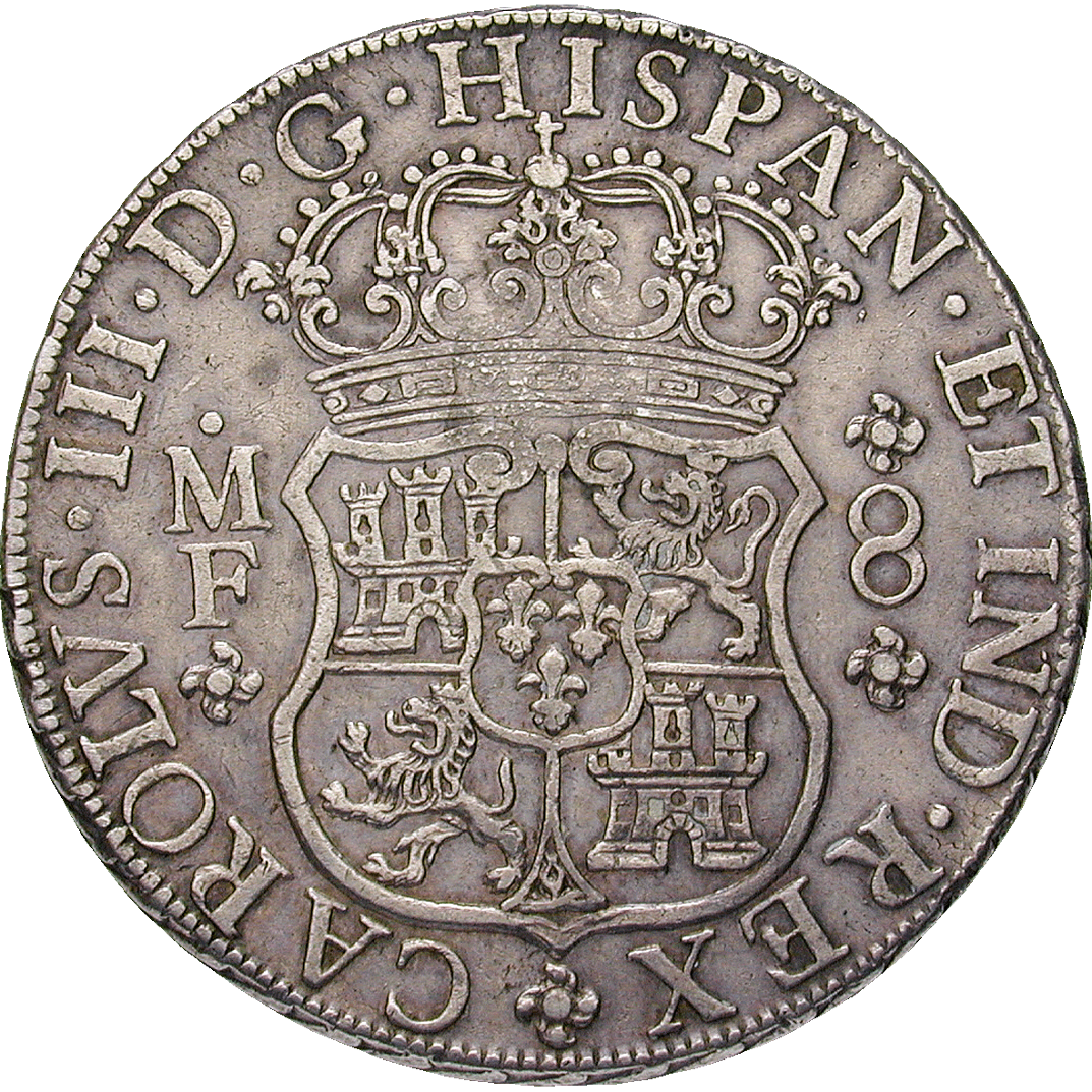 Mozambique, José I of Portugal, Real de a ocho (Peso) 1765 with Mozambican Countermark (obverse)