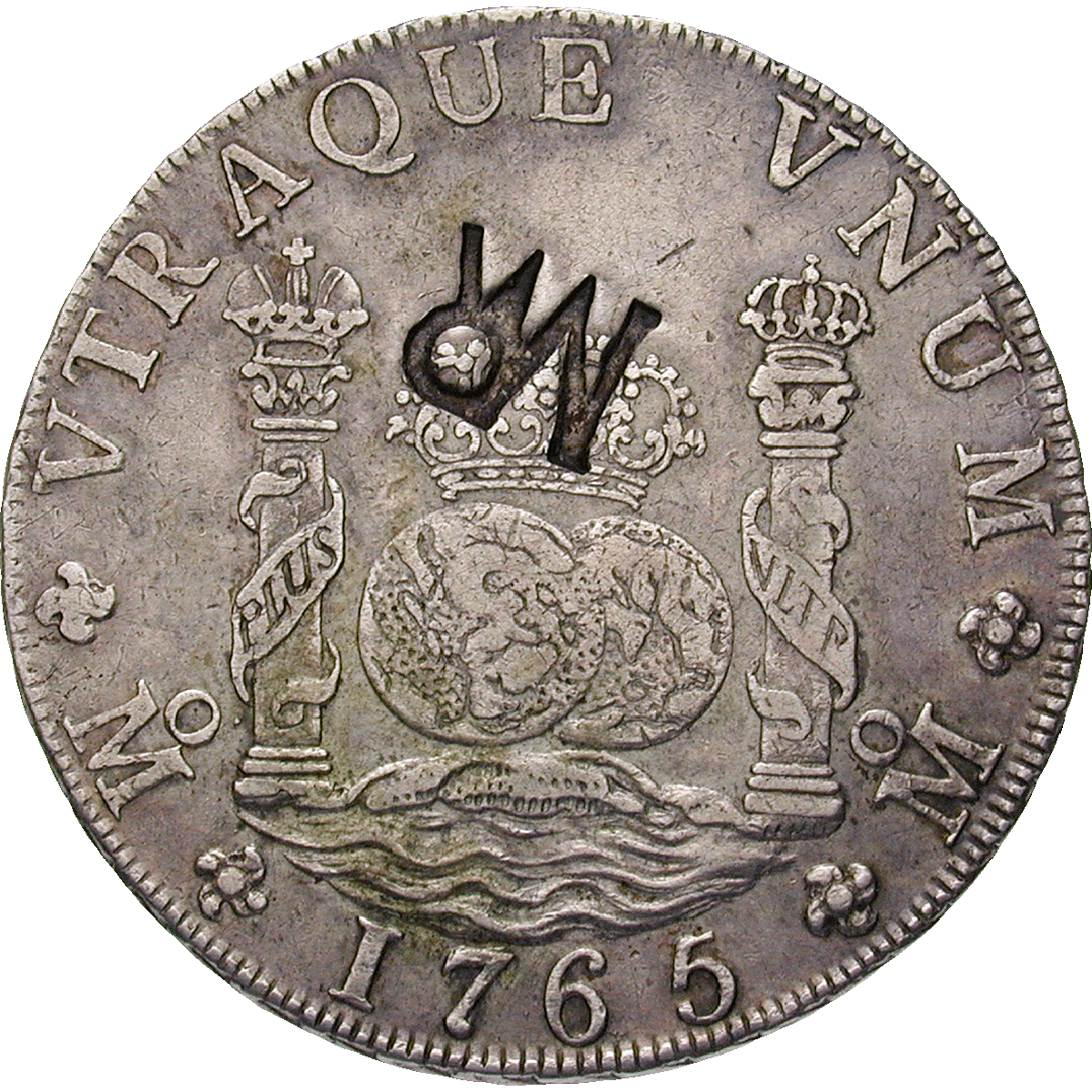 Mozambique, José I of Portugal, Real de a ocho (Peso) 1765 with Mozambican Countermark (reverse)