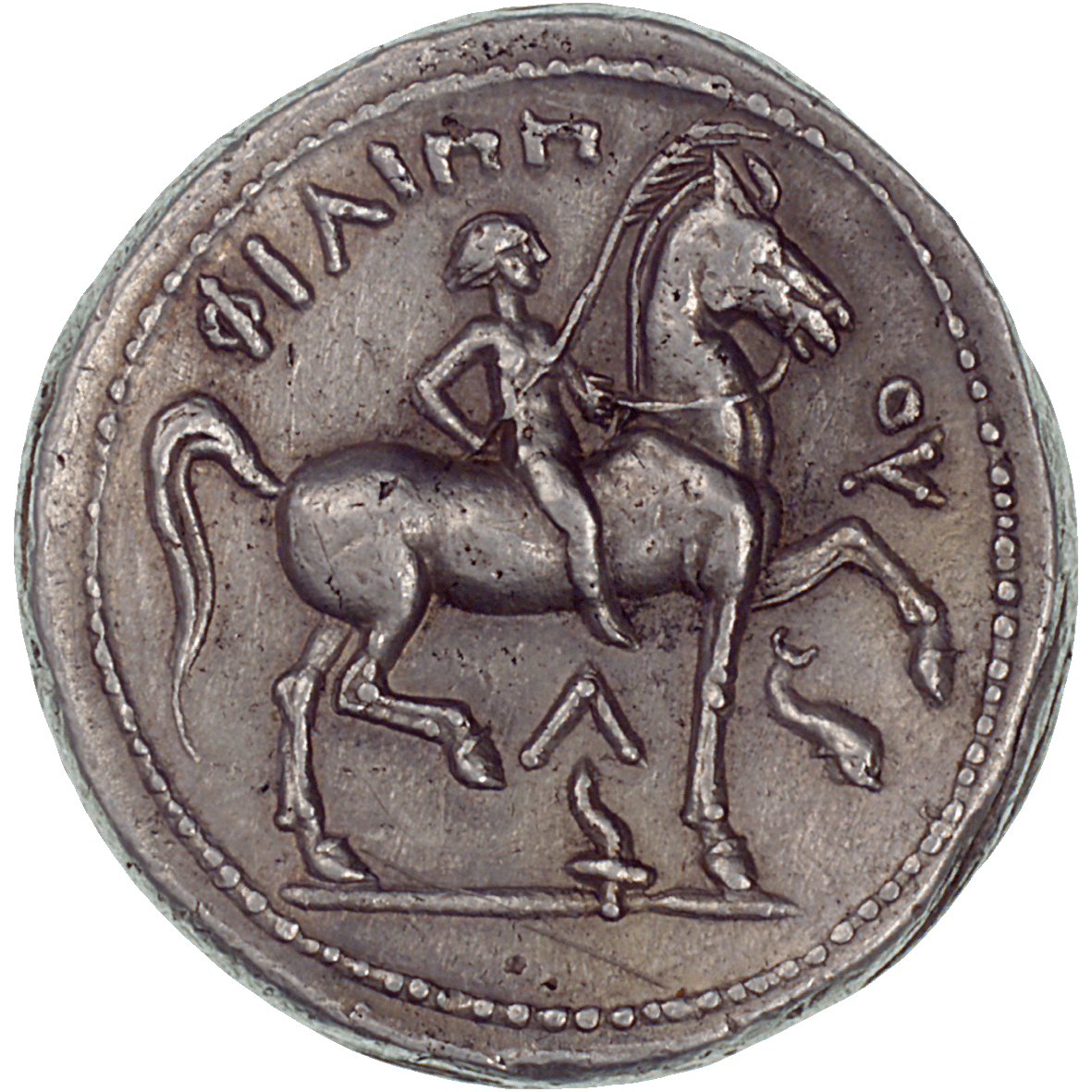 Kingdom of Macedonia, Tetradrachm in the Name of Philip II (reverse)