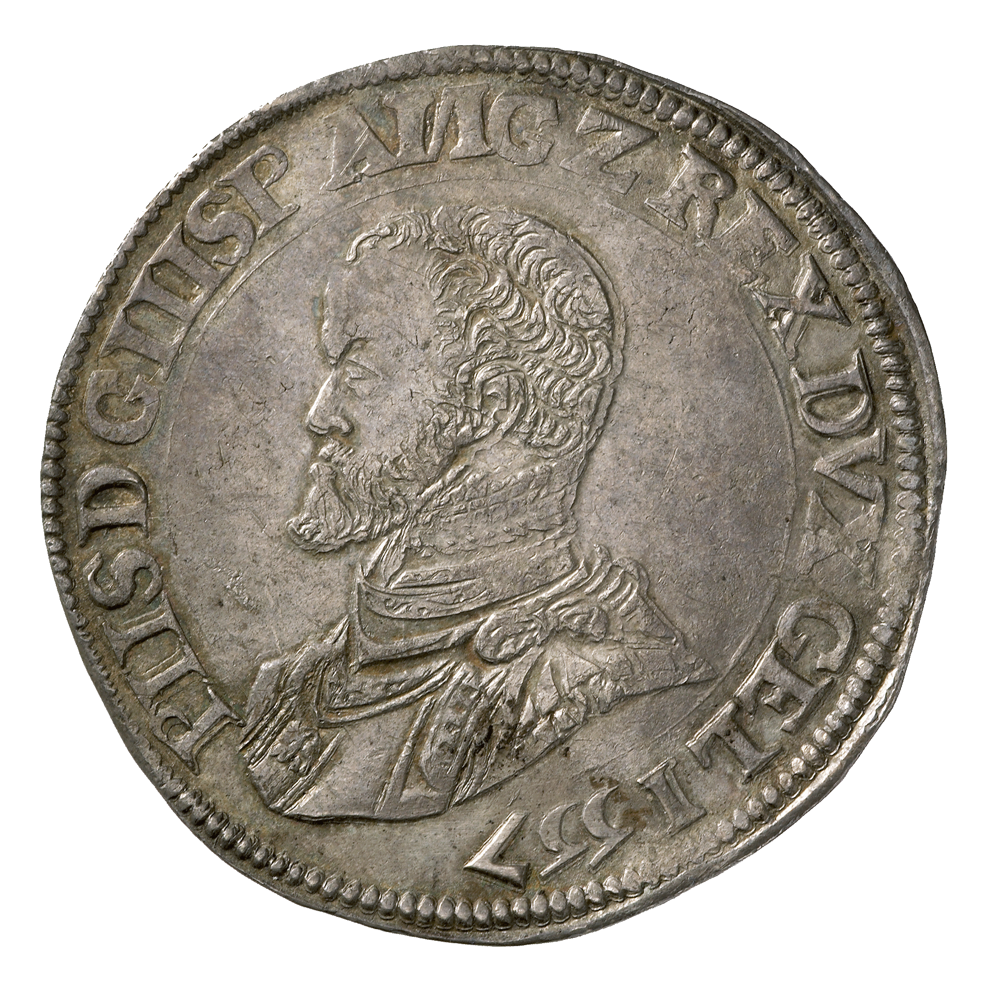 Holy Roman Empire, Duchy of Gelderland, Philip II of Spain, Philippstaler 1557 (obverse)