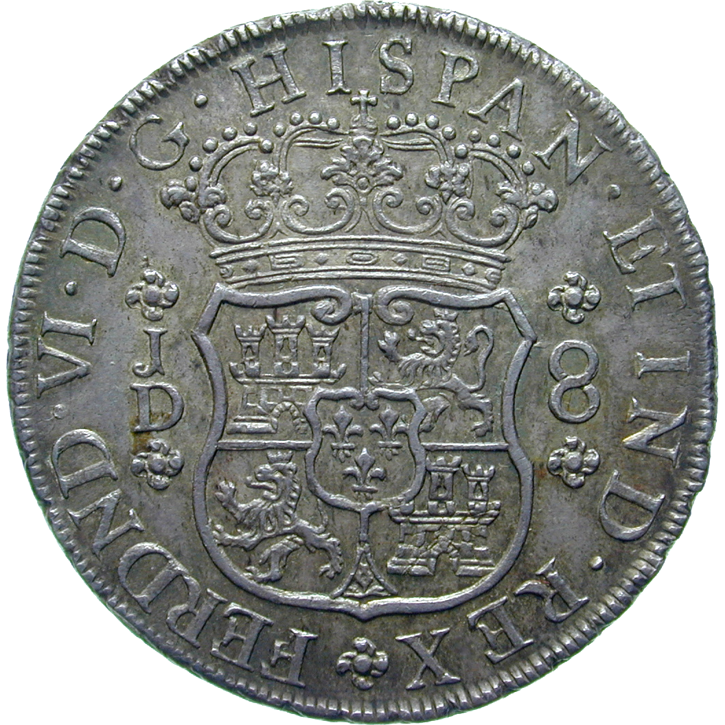 Spanish Colonial Empire, Viceroyalty of Peru, Ferdinand VI, Real de a ocho (Peso) 1754 (obverse)