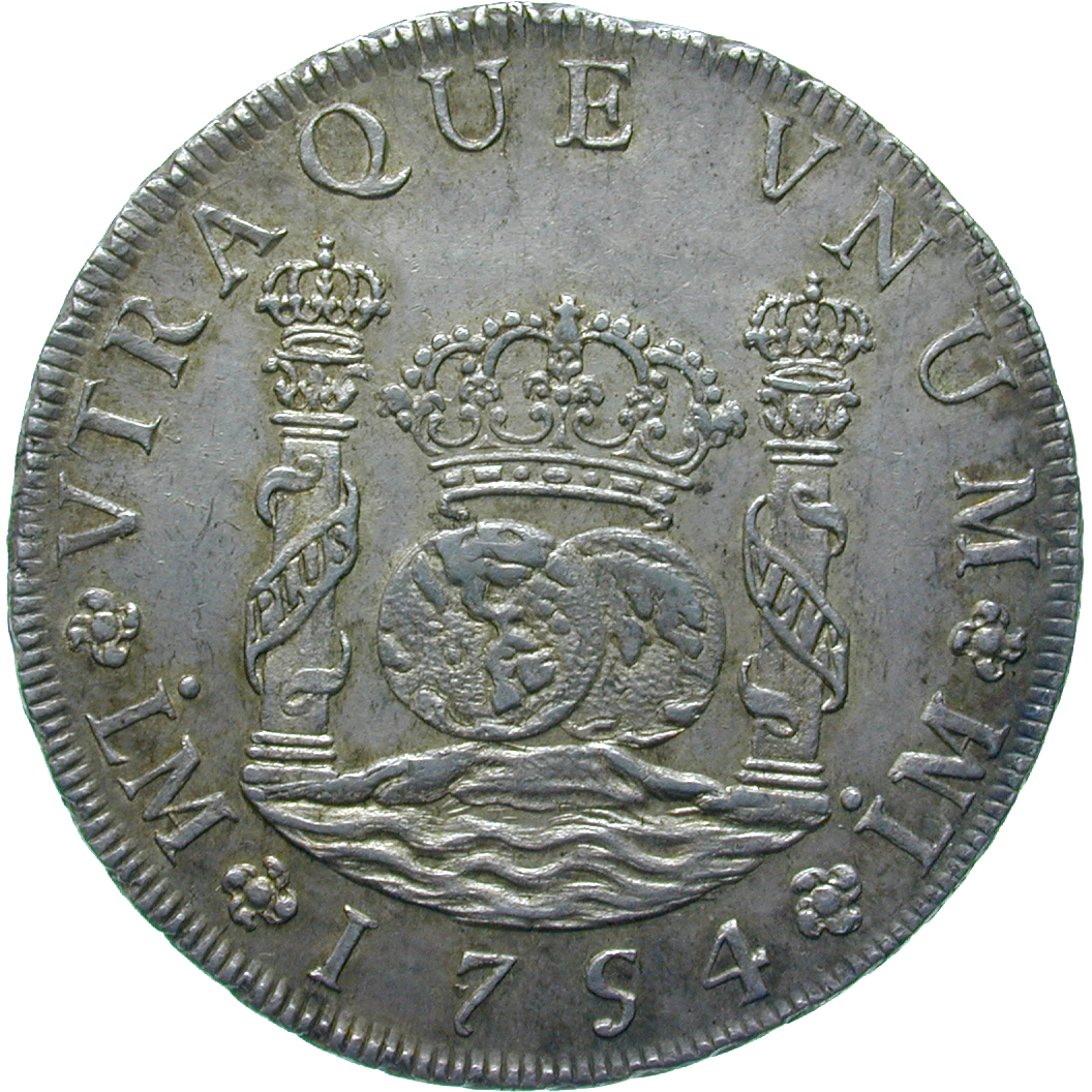 Spanish Colonial Empire, Viceroyalty of Peru, Ferdinand VI, Real de a ocho (Peso) 1754 (reverse)