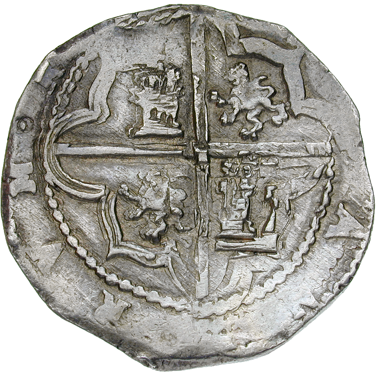 Kingdom of Spain, Philip II, Real de a ocho (Peso) (reverse)