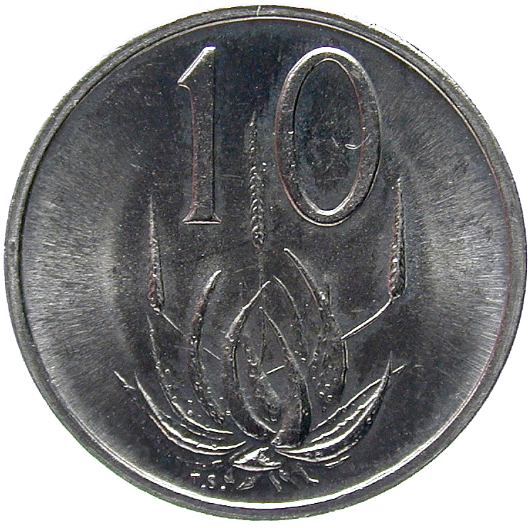 Republic of South Africa, 10 Cents 1980 (reverse)