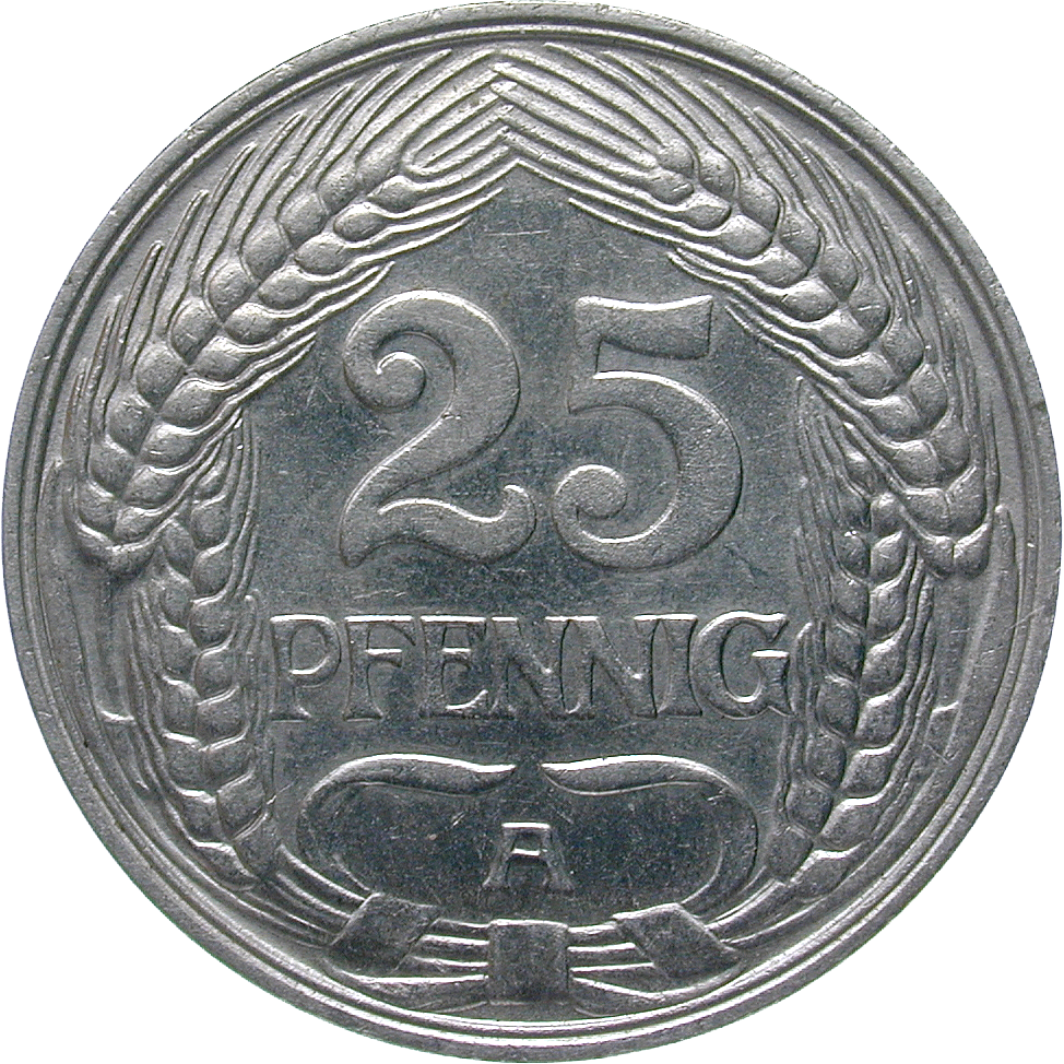 German Empire, Wilhelm II, 25 Pfennig 1910 (reverse)