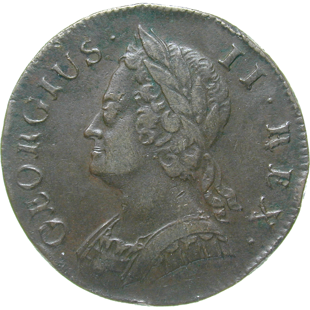 United Kingdom of Great Britain, George II, 1/2 Penny 1742 (obverse)