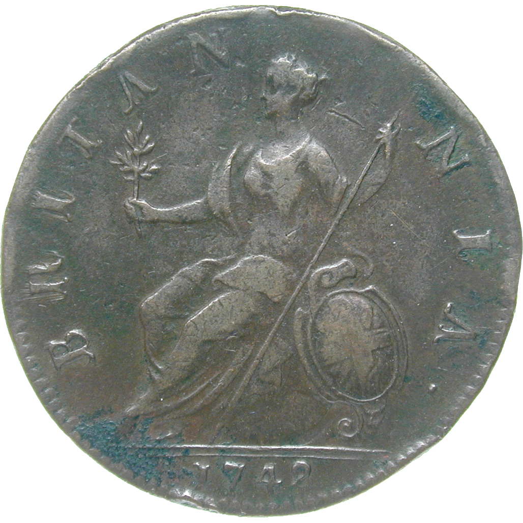 United Kingdom of Great Britain, George II, 1/2 Penny 1742 (reverse)