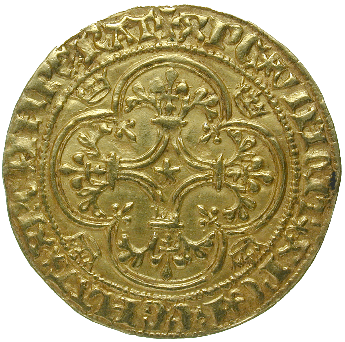 Kingdom of France, Charles VI, Ecu d'or à la couronne (reverse)
