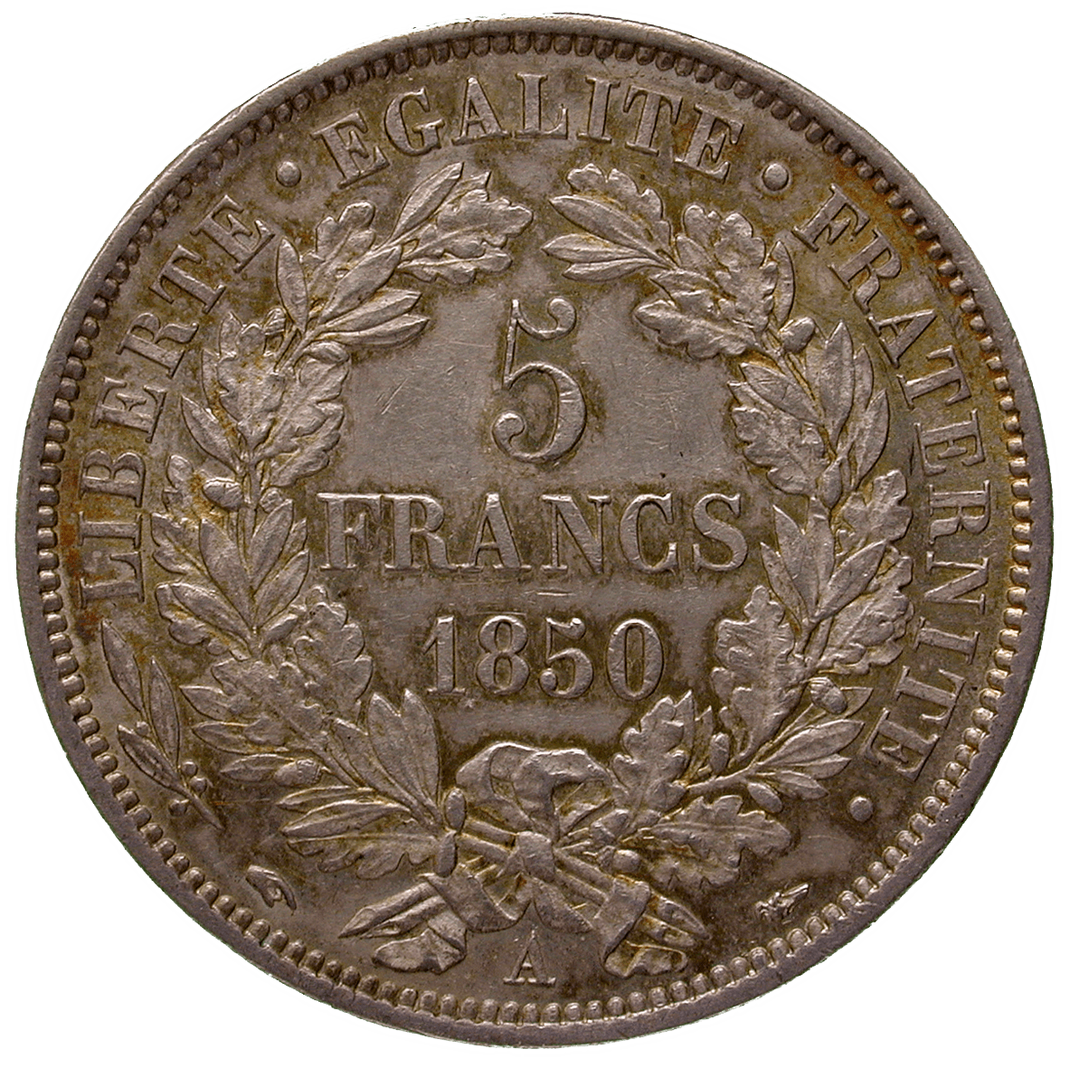 Republic of France, 5 Francs 1850 (reverse)
