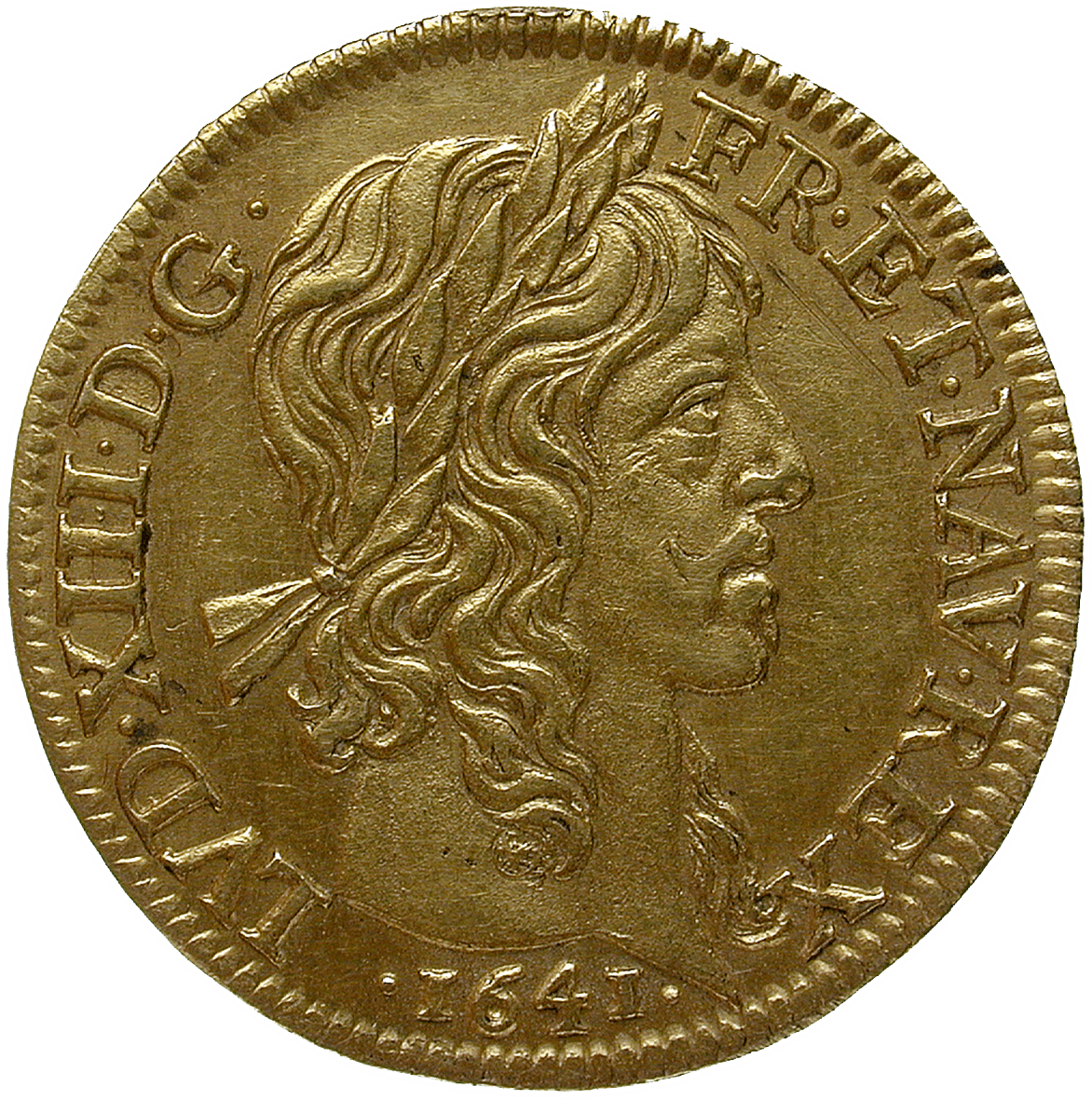 Kingdom of France, Louis XIII, Louis d'or 1641 (obverse)