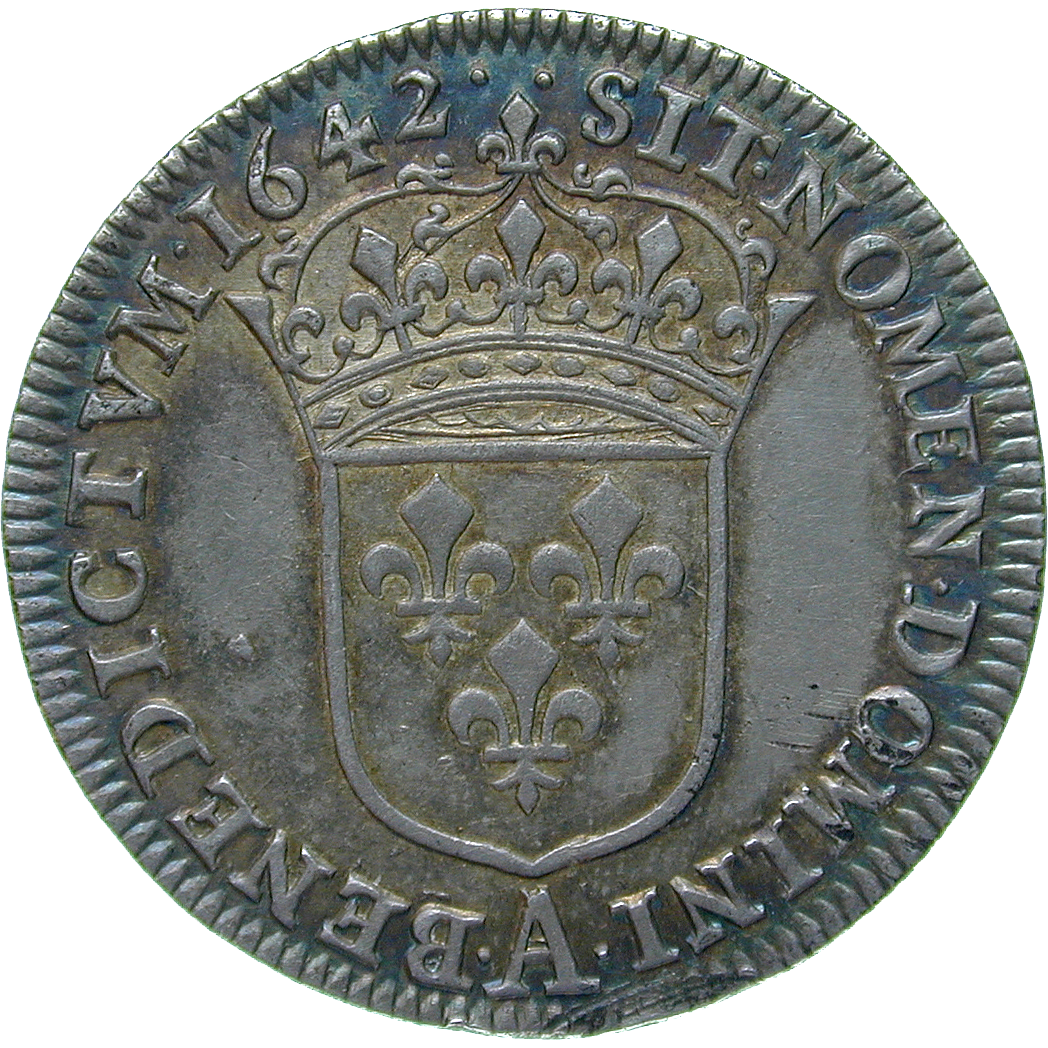 Kingdom of France, Louis XIII, 1/2 Ecu 1642 (reverse)