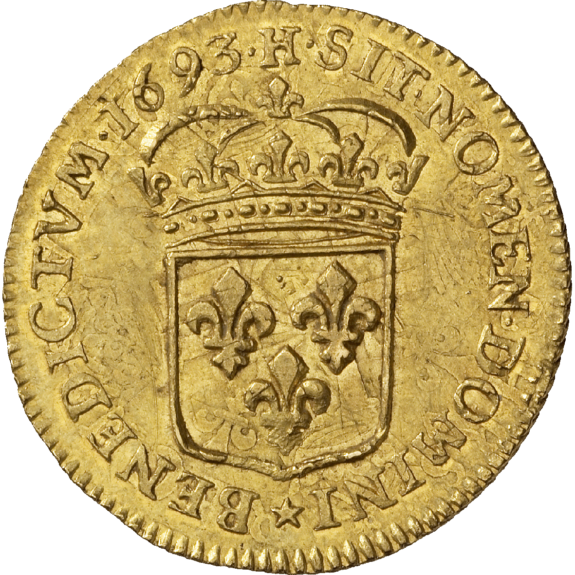 Kingdom of France, Louis XIV, Louis d'or 1693 (reverse)