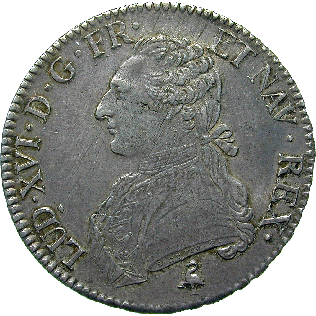 Kingdom of France, Louis XVI, Ecu aux lauriers 1789 (obverse)