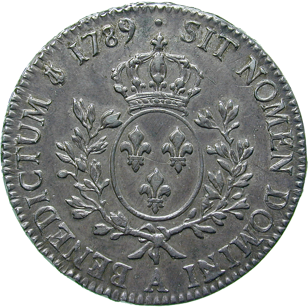 Kingdom of France, Louis XVI, Ecu aux lauriers 1789 (reverse)