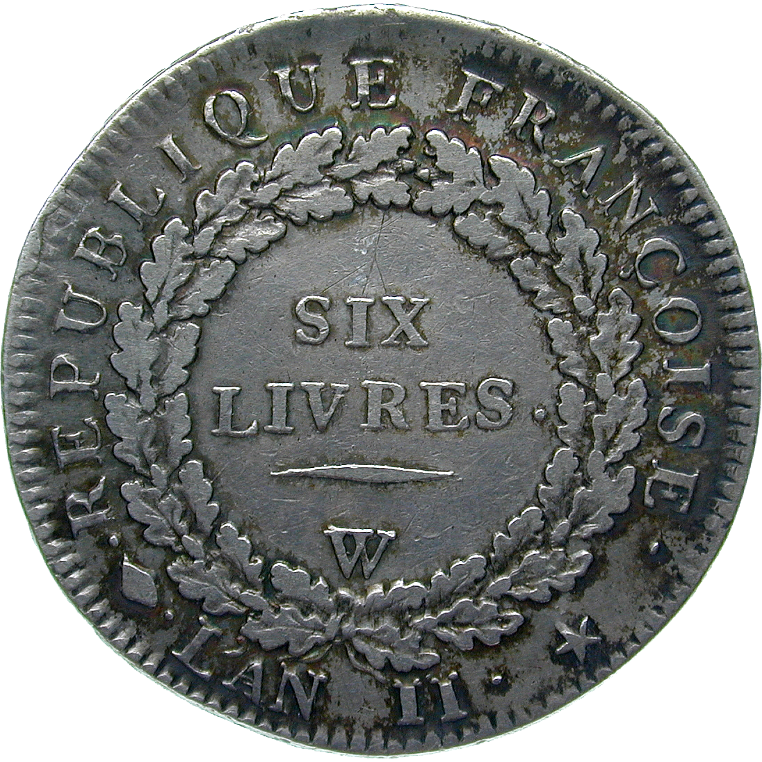 Republic of France, Ecu de 6 Livres An 2 (reverse)
