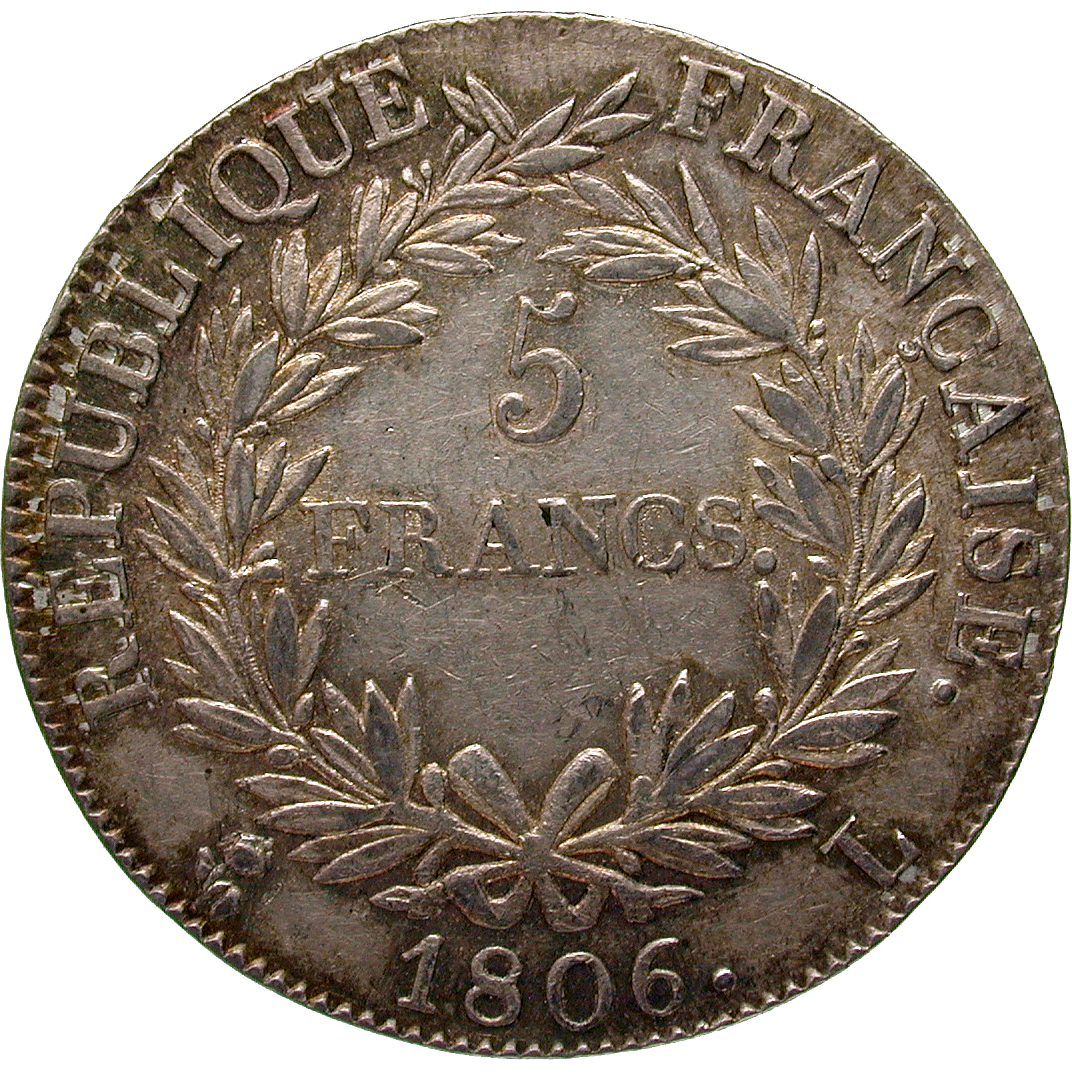 French Empire, Napoleon I, 5 Francs 1806 (reverse)