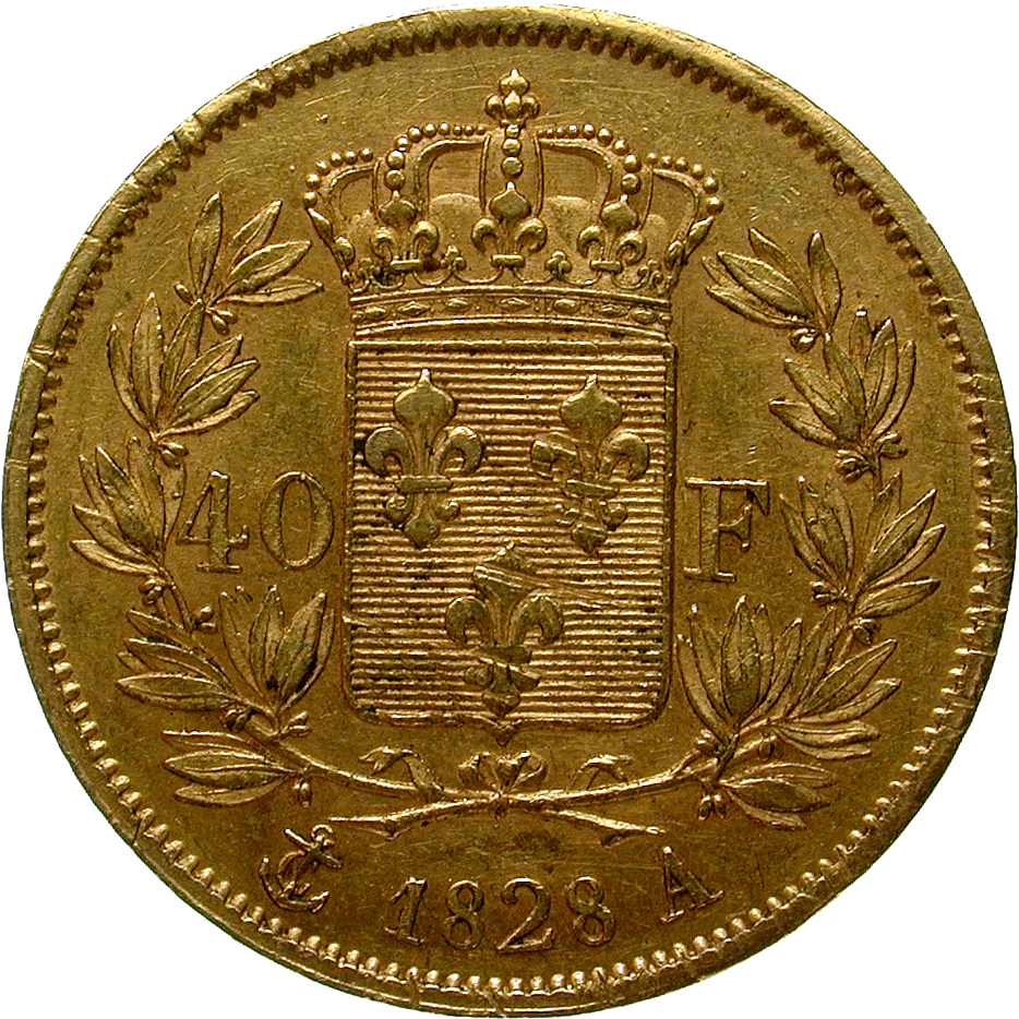 Kingdom of France, Charles X, 40 Francs 1828 (reverse)