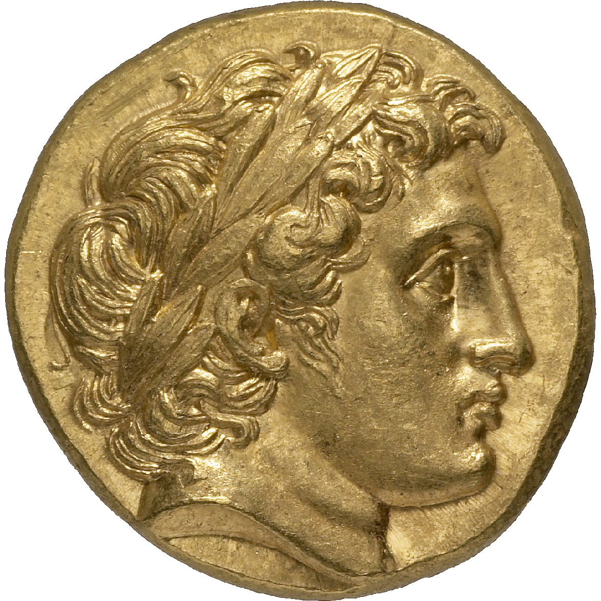 Kingdom of Macedon, Alexander III in the Name of Philip II, Stater (obverse)