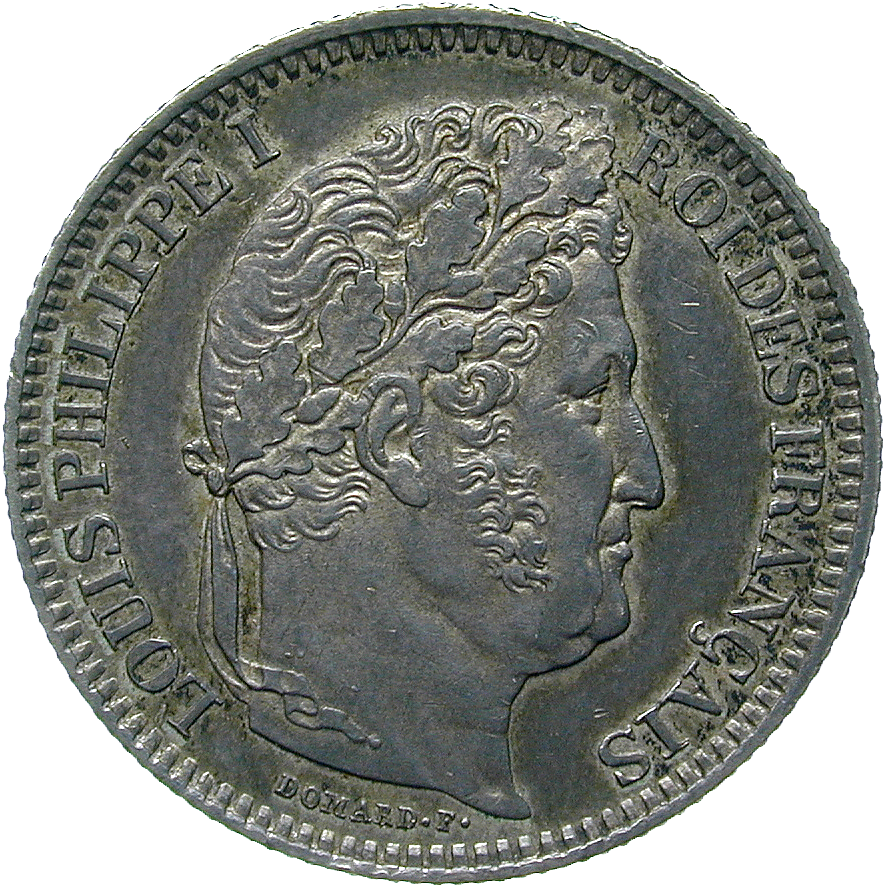 Kingdom of France, Louis Philippe I, 2 Francs 1848 (obverse)