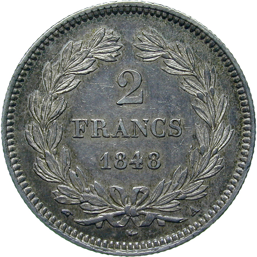 Kingdom of France, Louis Philippe I, 2 Francs 1848 (reverse)