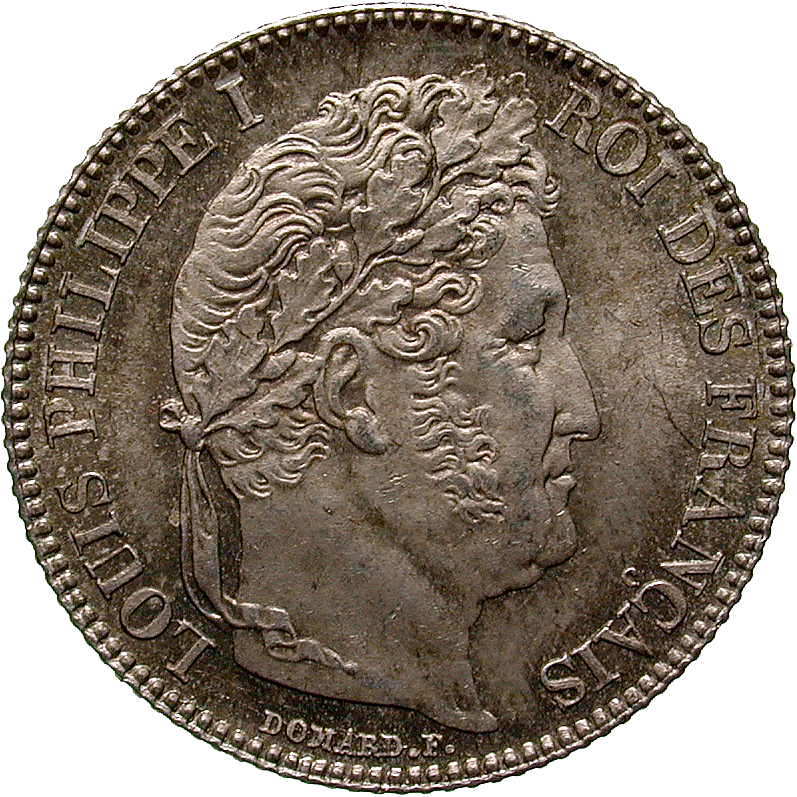 Kingdom of France, Louis Philippe I, 1 Franc 1845 (obverse)