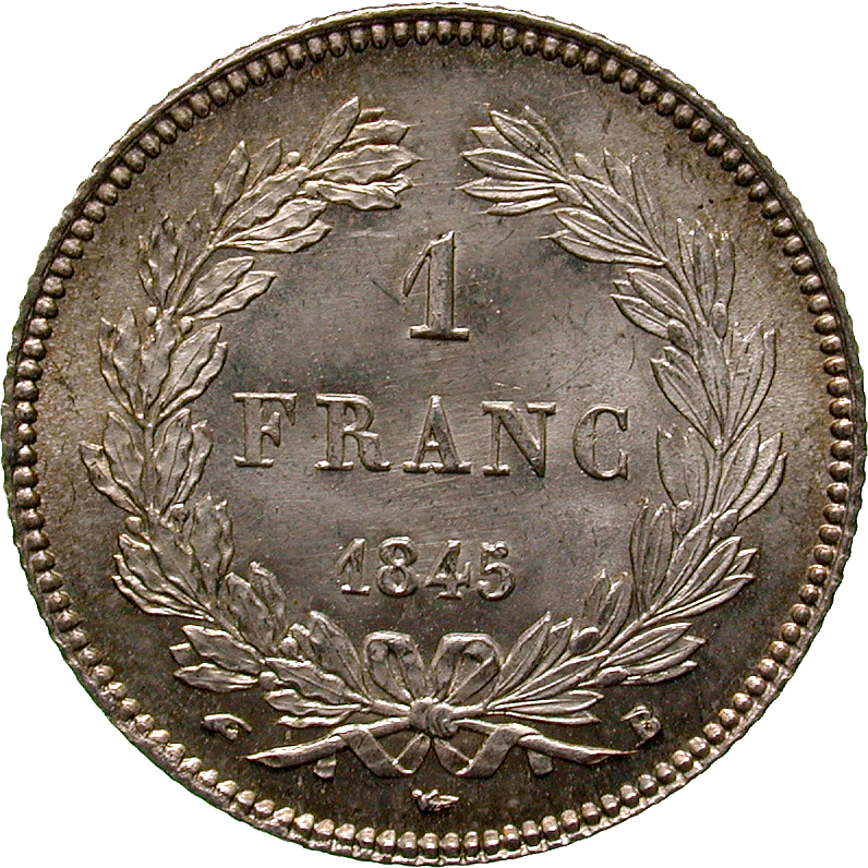 Kingdom of France, Louis Philippe I, 1 Franc 1845 (reverse)