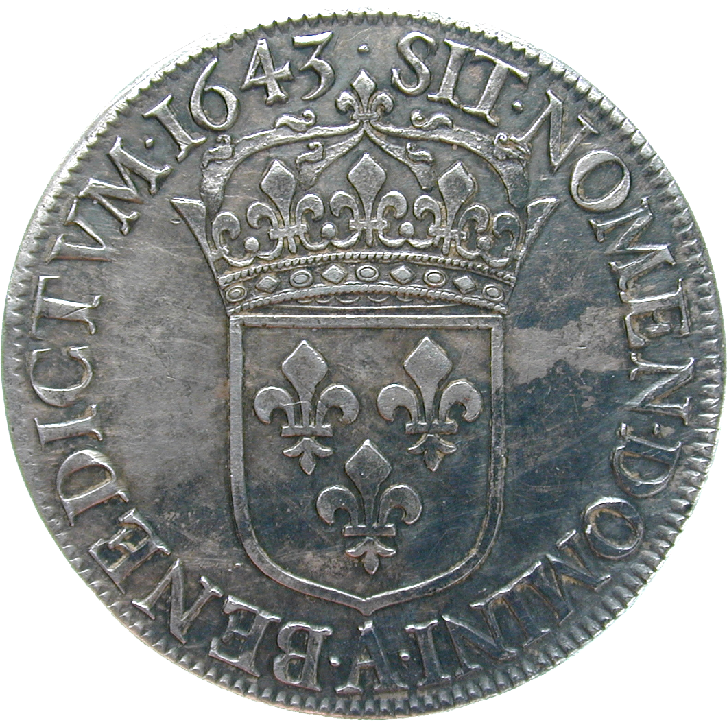 Kingdom of France, Louis XIII, Ecu Blanc 1643 (reverse)