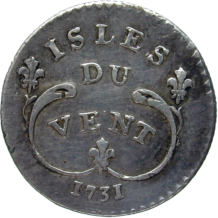 Kingdom of France, Isles du Vent (Antilles), Louis XV, 6 Sols 1731 (reverse)