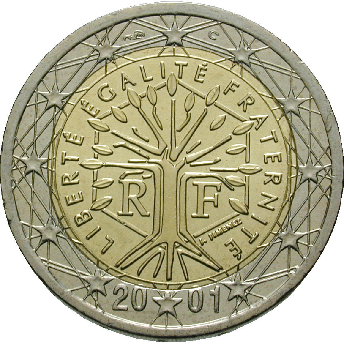 Republic of France, 2 Euros 2001 (reverse)