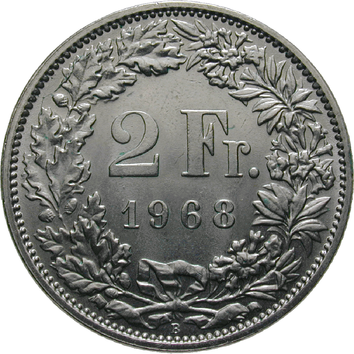 Swiss Confederation, 2 Francs 1968 (reverse)