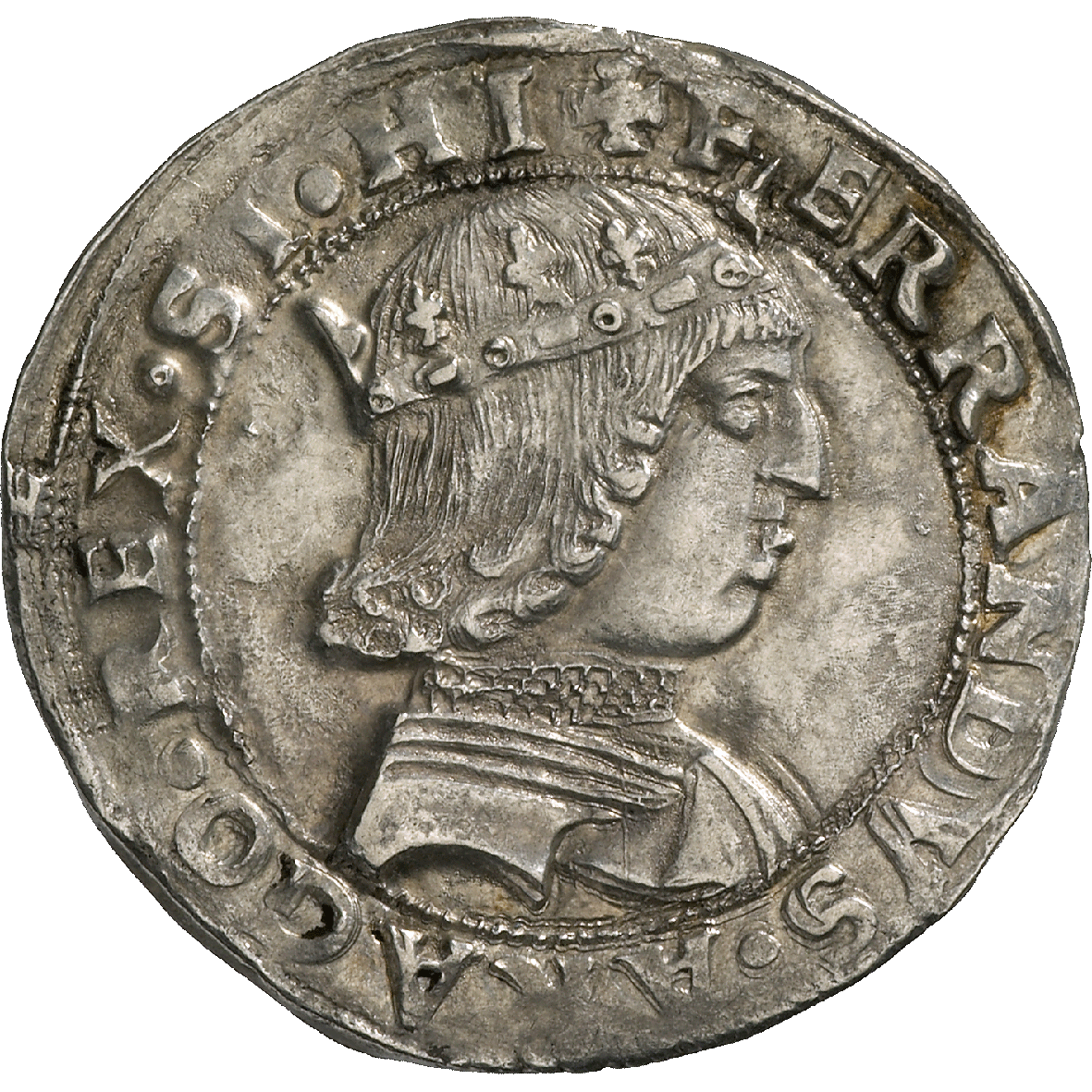 Kingdom of Napels, Ferdinand I of Aragon, Coronato  (obverse)